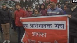 Students' Parents organised a protest demonstration outside the district commissioner's office in Shimla, Himachal Pradesh