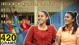 Indian women's football team players Aditi Chauhan and Dalima Chhibber