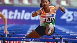 Swapna Barman in action at Asian Athletics Championships