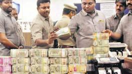 Hyderabad police displayed the cash seized from hawala agents in Hyderabad