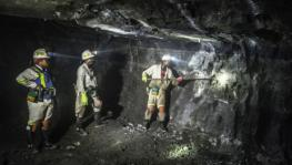 Platinum workers in a mine in South Africa.