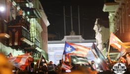 Celebrations outside Fortaleza following the Ricardo Rosselló's announcement that he will resign.