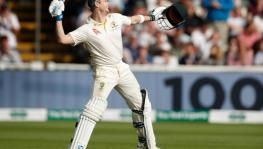 Australia cricket team's Steve Smith celebrates his century against England during the Ashes 2019 Test at Edgbaston