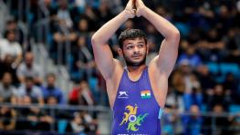 Indian wrestler Deepak Punia at the UWW World Wrestling Championships