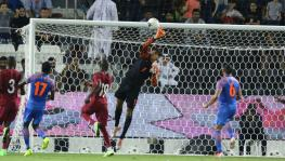 Indian football team goalkeeper Gurpreet Singh Sandhu makes a save in the FIFA World Cup qualifier against Qatar