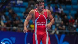 Indian wrestler Sushil Kumar in action at the UWW World Wrestling Championships in Nur-Sultan