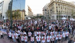 Trade union members mobilized on September 17 in Athens, Greece against the government's anti-labor policies.