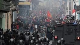 Police attacked student protesters who were marching towards Plaza Grande in the capital Quito.