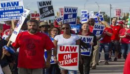 Workers, organized by the UAW, strike at the General Motors' Hamstrack manufacturing unit that is up for closure by the company.