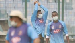 India vs Bangladesh Delhi T20I, Bangladesh cricket team players wear pollution masks in training