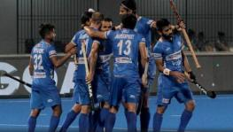 Indian men's hockey team players celebrate their win over Russia in their Tokyo Olympics qualifier