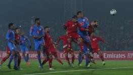Seiminlen Doungel of Indian football team scores against Afghanistan in their FIFA World Cup qualifier match