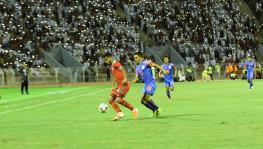 Sunil Chhetri of Indian football team in action against Oman
