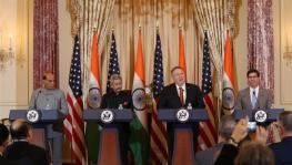 US Secretary of State Mike Pompeo (2nd R, Rear), U.S. Secretary of Defense Mark Esper (1st R, Rear), Indian External Affairs Minister S. Jaishankar (2nd L, Rear), Indian Defense Minister Rajnath Singh (1st L, Rear) attended a press conference following th