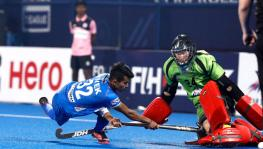 Neelakanta Sharma of Indian hockey team vs Australia during FIH Hockey Pro League