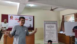 Sandip Akhade at a Sanvidhan Pracharak workshop at SM Joshi Foundation in Pune.