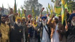 Farmers from Punjab chanting slogans during their house arrest in a gurudwara ahead of their visit to Shaheen Bagh last week.