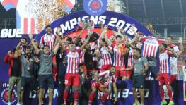 ATK FC players celebrate with the 2019-20 Indian Super League (ISL) trophy