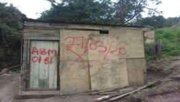 One of the 17 shacks marked for demolition in Durban, South Africa.