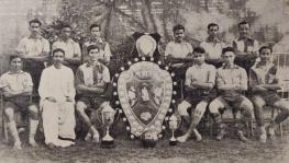 Fred Pugsley with the 1945 East Bengal football team