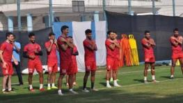 ATK players train ahead of an ISL football match