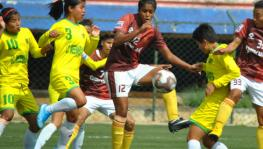 Gokulam Kerala FC women's football team in action during the final of the Indian Women's League.