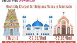 No, temples are not charged more for electricity than mosques and churches in Tamil Nadu