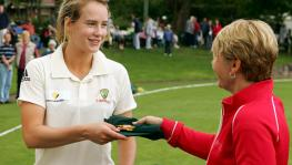 Ellyse Perry of Australia cricket team and WACA chief Christina Matthews