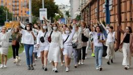 Women protestors in Minsk, Belarus