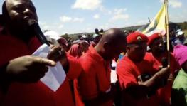 ATUSWA Secretary General Wander Mkhonza addressing workers of Zheng Yong and FTM Garments' factories in Swaziland's southern town of Nhlangano in March 2019.