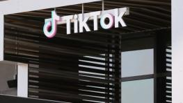 TikTok logo on display, Culver City, California, Aug 27, 2020