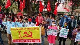 Many gathered in Himachal Pradesh's Shimla as part of the countrywide protest, jointly called by workers' and peasants' groups. Image Courtesy - Special Arrangement.