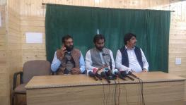 Talib Hussain during a press conference in Srinagar on Monday.