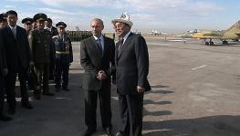 President Putin with then Kyrgyz President Askar Akayev during inauguration ceremony at Russian airbase at Kant, Oct. 23, 2003