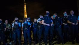 france police hold protest.