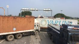 Row of trucks can be seen positioned at the Rajasthan-Haryana border. Image clicked by Ronak Chhabra