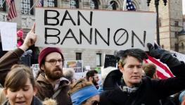 An anti-Bannon placard at a pro-immigrant rights protest in Boston in 2017. Photo: Ban Bannon by Pierce on Flickr. This photo is available under a CC BY 2.0 licence