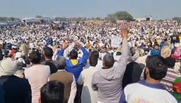 On February 7, farmers flocked to a mega meeting held at Kitlana toll plaza on Charkhi-Dadri national highway near Bhiwani. Image Courtesy - Facebook