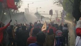 Police used water cannon on youth rally in west bengal