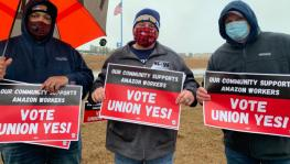 Community members of Bessemer rally in support of unionization and Amazon workers on February 6, 2021. Photo: Liberation News