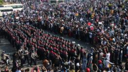 Protests in Myanmar's central plains after the military coup.