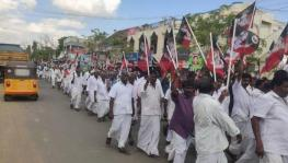 AIADMK cadres take out a protest demonstration in Tiruchi