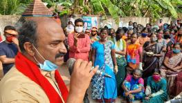 KN Balagopal addressing the gathering of cashew factory workers at Puthoor Thekkumpuram in Kottarakkara constituency