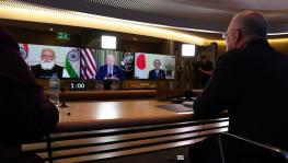 "A virtual meeting of the ""Quad"" took place on March 12 with participation of the heads of state from India, the US, Australia, and Japan. Photo: Twitter/Scott Morrison"