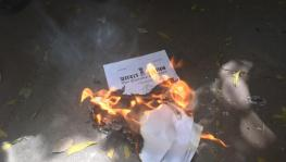 Copies of the four labour codes were burned across the country. Image clicked by Ronak Chhabra