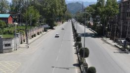 Deserted view of MA Road Srinagar during corona Lock down on Sunday.