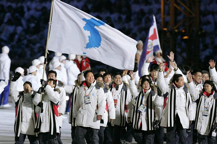 North Korea and South Korea athletes walk under an unified flag at the Winter Olympics in Pyeongchang earlier this year.