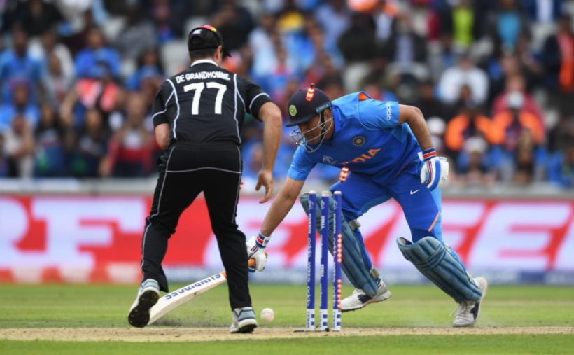 Indian cricket team's MS Dhoni gets run out during the ICC World Cup semifinal against New Zealand