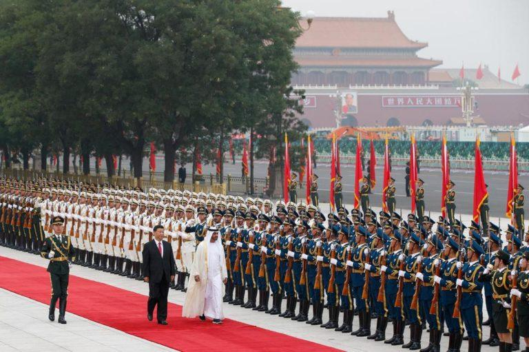 Red carpet welcome: Crown Prince of Abu Dhabi, Sheikh Mohamed bin Zayed, accompanied by Chinese President Xi Jinping, reviews an honour guard at the Great Hall of the People, Beijing, July 22, 2019