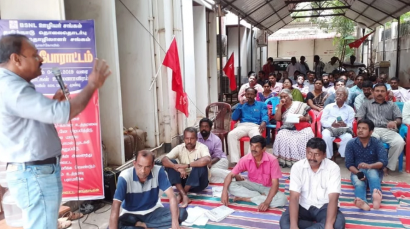 BSNL Employees Go on Hunger Strike